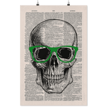 Nerdy Skull vintage dictionary poster - Gifts For Reading Addicts