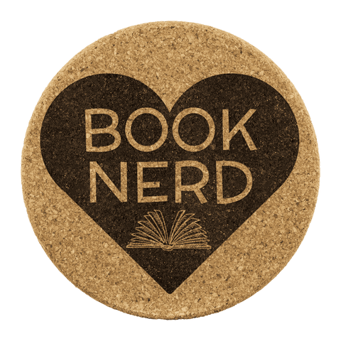 """Book Nerd""Round Cork Coaster - Gifts For Reading Addicts"
