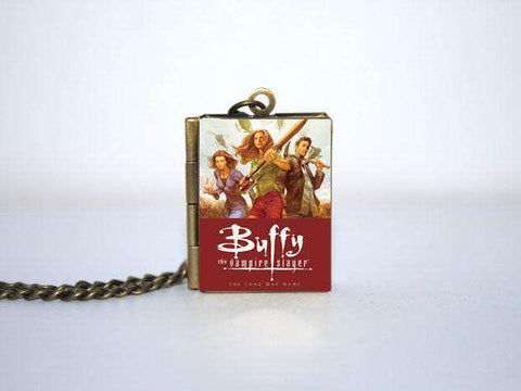 Buffy Comic Book cover Locket Necklace Bronze tone jewelry the vampire story B0948