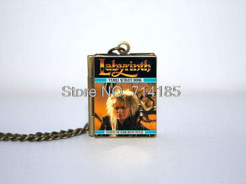 Labyrinth Book Cover Locket Necklace keyring