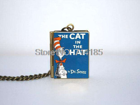 The In cat The Hat book cover Locket Necklace keyring silver & Bronze tone B0994 - Gifts For Reading Addicts