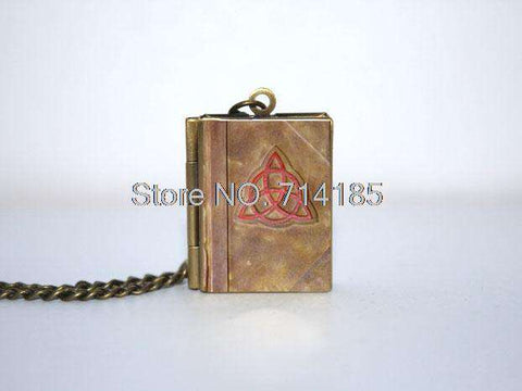 Charmed Book cover Locket Necklace keyring silver & Bronze tone