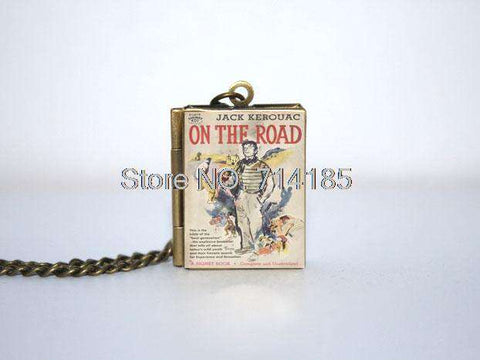 On the Road Book Cover Locket Necklace keyring