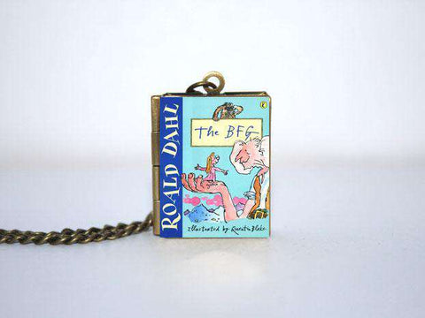 The BFG Book cover Locket Keyring Necklace Bronze tone silver tone