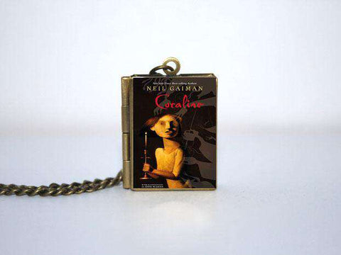 Coraline Book Cover Locket Necklace keyring silver & Bronze tone - Gifts For Reading Addicts