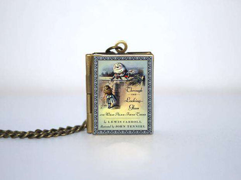 Alice  Wonderland cover Locket Necklace Keyring silver & bronze tone