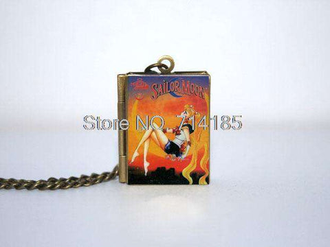 Sailor Moon Book Cover Locket Necklace keyring - Gifts For Reading Addicts