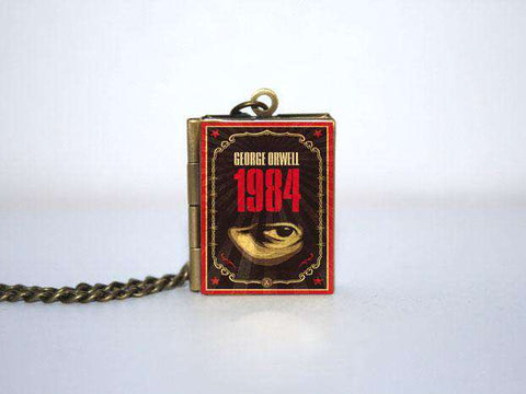 1984  Book Cover Locket Necklace keyring