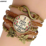 Alice in Wonderland Brown Leather Quote Bracelet