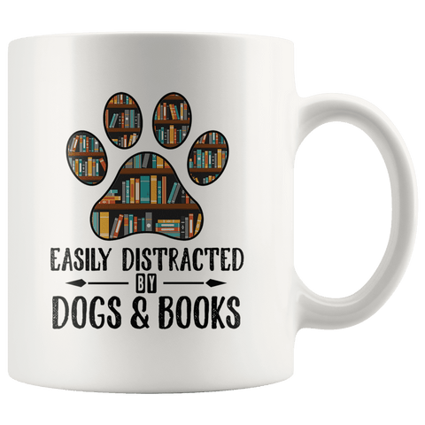 """Dogs and books""11oz white mug"