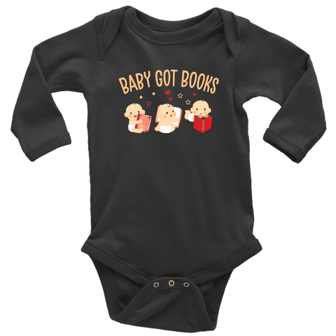 """Baby Got Books""Long Sleeve Baby Bodysuit - Gifts For Reading Addicts"