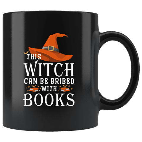 """Bribed With Books""11oz Black Mug"