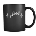 Book Heartbeat Black Mug-For Reading Addicts