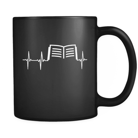Book Heartbeat Black Mug - Gifts For Reading Addicts