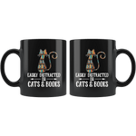 """Cats and books""11oz black mug - Gifts For Reading Addicts"