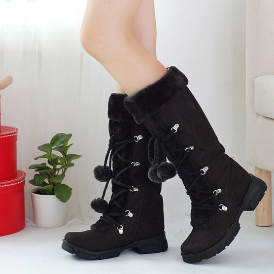 2018 Vintage Leather Snow Boots For Women Lace-up