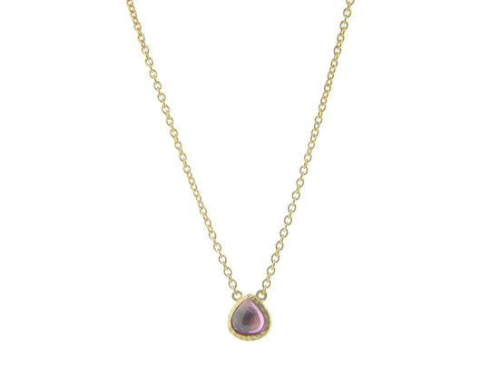 Pink CZ Rain Drop Necklace