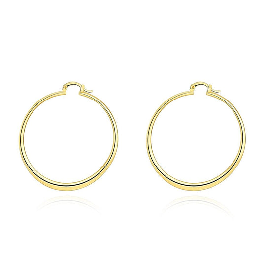 "2"" Flat Hoop Earrings in 18K Gold Plated"
