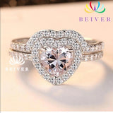 2 PC Exquisite Heart CZ Ring Size 7