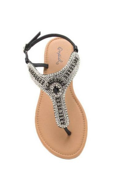 Archer - 401 Black Thong Embellished Sandal