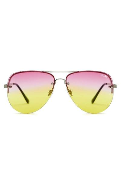 Sunglasses - Muse Fade - Silver W/ Pink Yellow Fade Lens