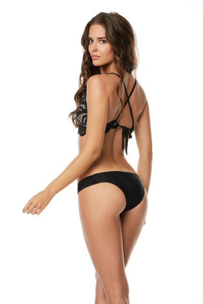 Lace Fanned Full Black Bikini Bottom