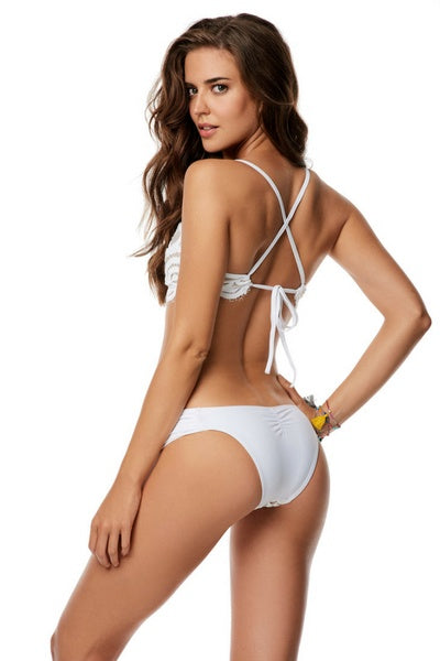 Lace Fanned Full White Bikini Bottom