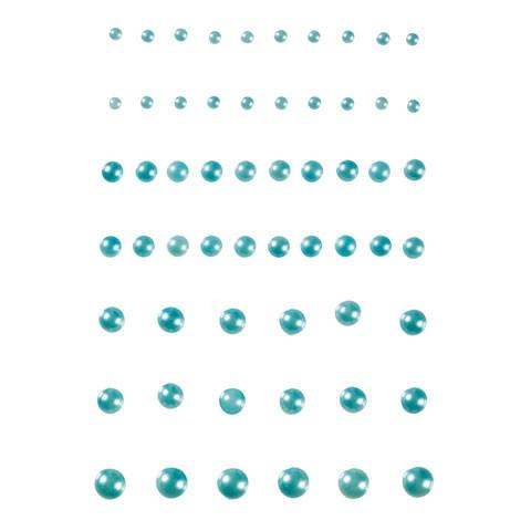 Baby Blue Adhesive Pearls w/ Flat Back- 58 Pieces