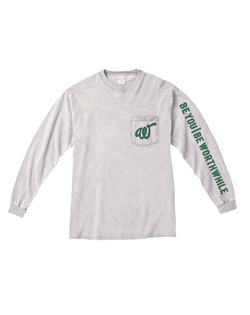 Long Sleeve Pocket-Tee | White/Mint Green