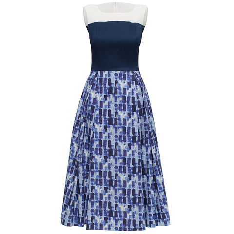 'Blue and White Elegant Dress'