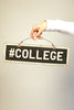 #COLLEGE Weathered Wooden Sign