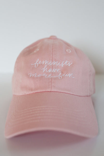 Feminists Have More Fun Cap in Light Pink