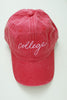 Cursive College Baseball Cap In Red