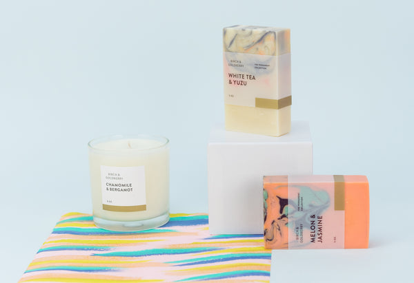 esby apparel endless summer garage sale vendor birch&goldberry soy candle marbled paper natural soap