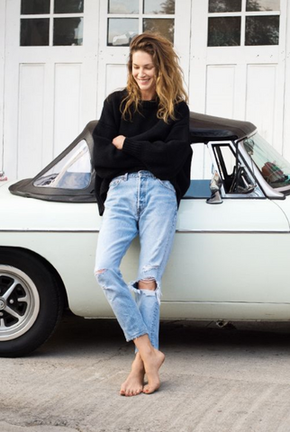 erin wasson car black sweater fall style effortless chic