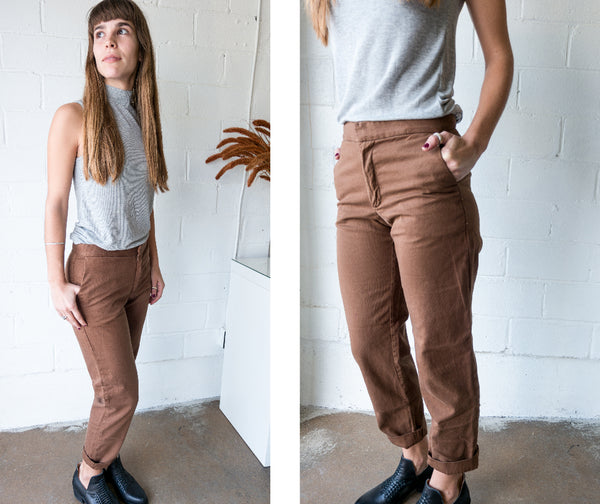 esby sam pants-brown-tan-camel-twill-cotton-relaxed-cropped american made
