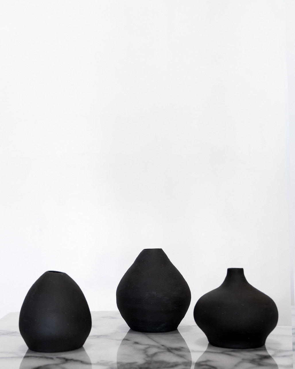 black ceramic vases
