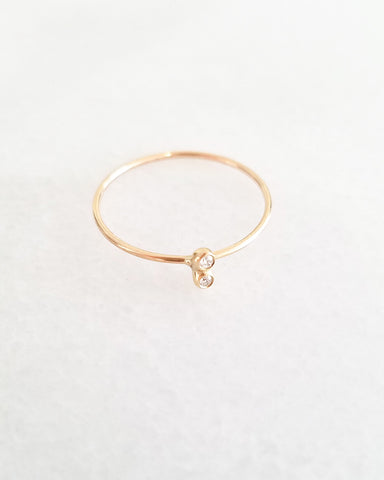 BLANCA MONROS GOMEZ - DOUBLE WHITE DIAMOND SEED RING - 14K YELLOW GOLD