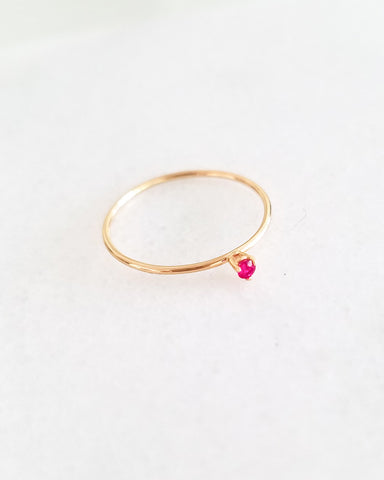 BLANCA MONROS GOMEZ - TINY RUBY SOLITAIRE RING