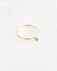 BLANCA MONROS GOMEZ - TINY EMERALD SOLITAIRE  RING
