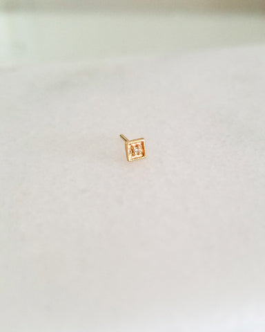 BLANCA MONROS GOMEZ - SQUARE FILIGREE DIAMOND STUD - 14K YELLOW GOLD