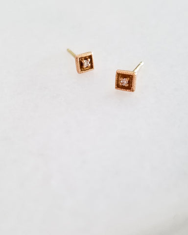 BLANCA MONROS GOMEZ - SQUARE FILIGREE DIAMOND STUD - 14K ROSE GOLD