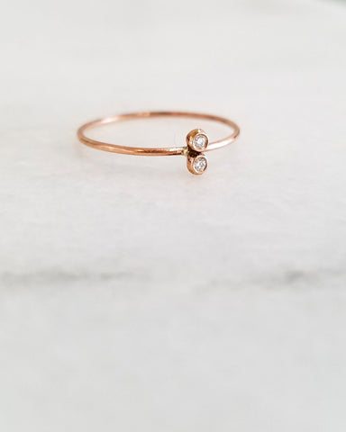 BLANCA MONROS GOMEZ - DOUBLE WHITE DIAMOND SEED RING - 14K ROSE GOLD