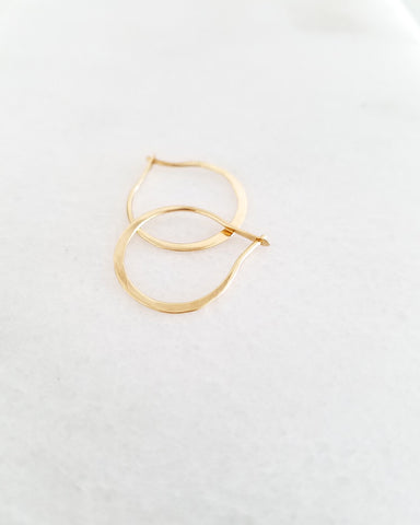 BLANCA MONROS GOMEZ - MINI HAMMERED HOOP - 14K YELLOW GOLD