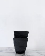 black stacking ceramic tumblers