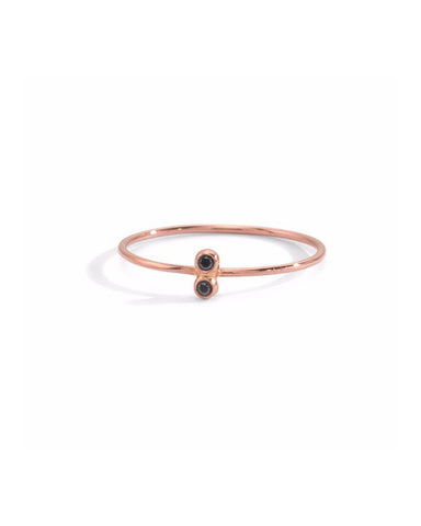 BLANCA MONROS GOMEZ - DOUBLE BLACK DIAMOND SEED RING - 14K ROSE GOLD