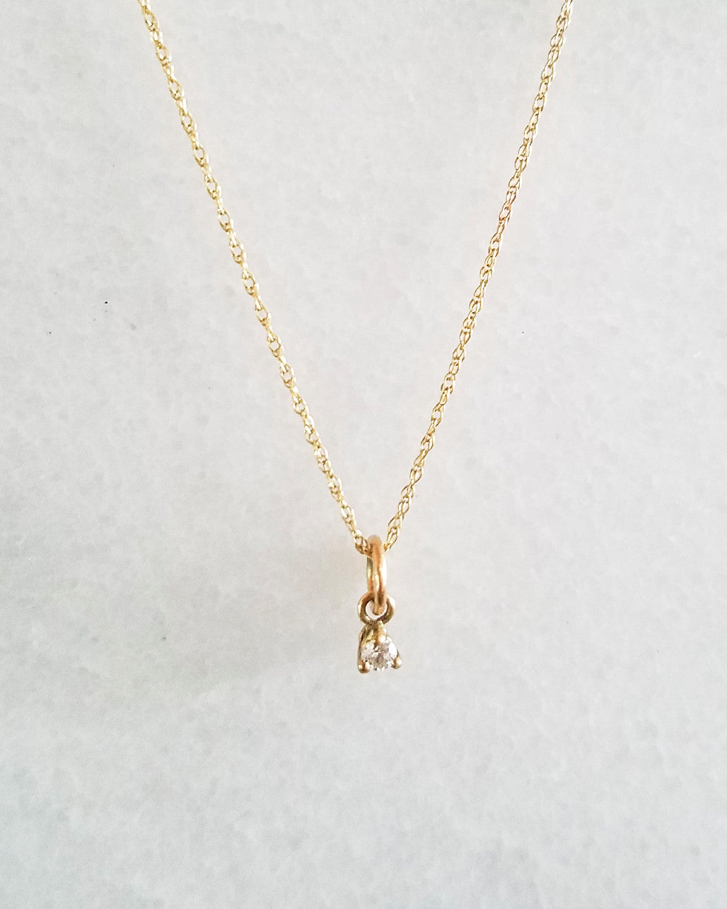 TINY WHITE DIAMOND NECKLACE