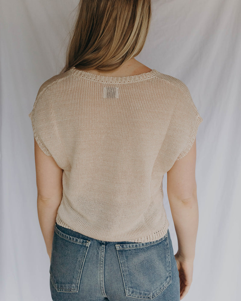 LAUREL SWEATER TANK - PEARL
