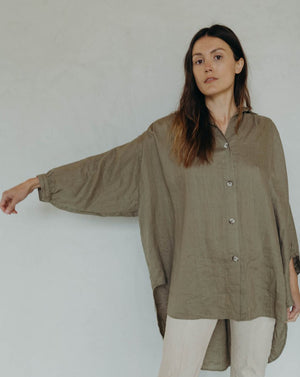 CHELLE TOP - WASHED LODEN