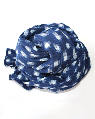 IKAT LARGE SCARF - NAVY/WHITE